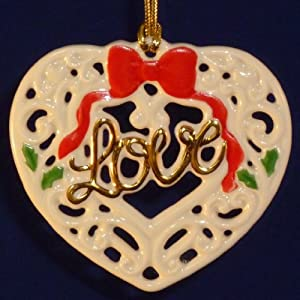 Lenox 'Love' Pierced Porcelain Christmas Ornament