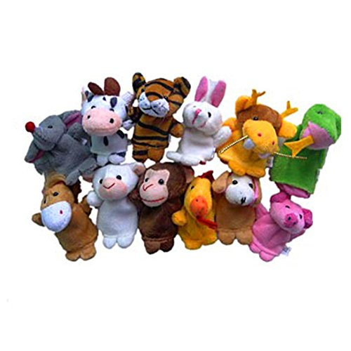 VIASA 12pcs Animal Finger Puppet Plush Early Education Toys