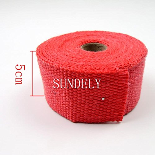 SUNDELY® Red Color Glassfiber Exhaust Pipe Header Heat Wrap Resistant Downpipe Tape Roll 2in X 16ft (5cm X 5m) + 5 Metal Ties 2