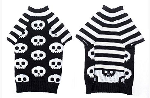 Freerun Pet Black White Sweater Dog Clothes Skull Warm Knitted Sweater Coat - XXS (Ferret Clothing compare prices)