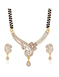 I Jewels Traditional Gold & Rhodium Plated American Diamond Mangalsutra Set With Earrings For Women D024