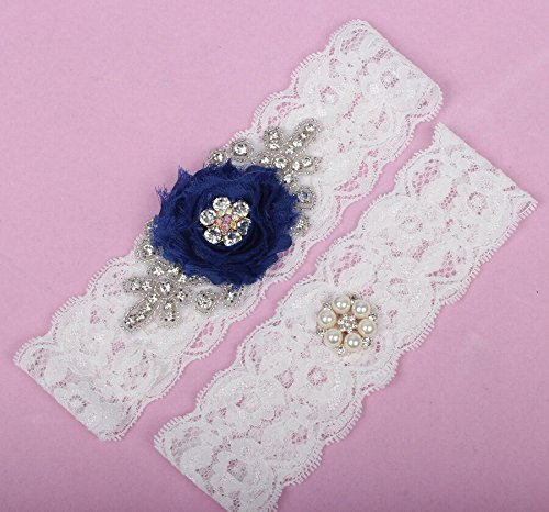 Sunshinesmile Lace Wedding Bridal Garter Set with Pearl & Rhinestone Prom Gift