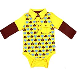 Fore Axel And Hudson Cotton Baby Boy Rompers (12F115-Md -Yellow -9-12 M)