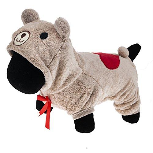 PetWell Pet Dog Bear Type Warm Fleece Hooded Coat Jumpsuit Brown XL (Dog Bear Costume)
