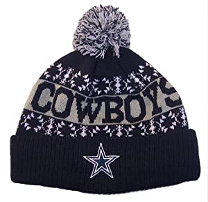 Dallas Cowboys NFL Heavy Knit Pom Beanie Cap Hat Team Colors Authentic & NEW by Dallas Cowboys Team Apparel