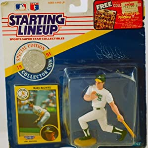 1991 - Kenner - Starting Lineup - MLB - Mark McGwire #25 - Oakland Athletics - RARE - Vintage Action Figure - w/ Trading Card & Commemorative Coin - Limited Edition - Collectible