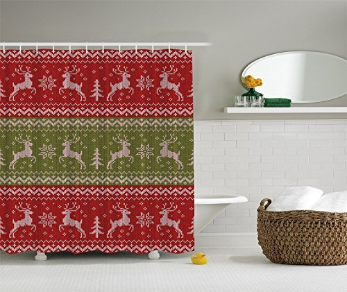 Holiday Christmas Red Green Reindeer Woven Art Print Fabric Digital Shower  Curtain By Ambesonne