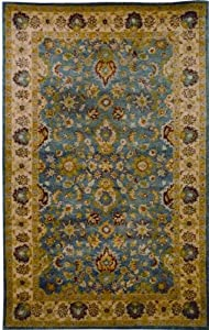 Safavieh Antiquities Collection AT15A Handmade Blue and Beige Hand-Spun Wool Oval Area Rug, 4-Feet 6-Inch by 6-Feet 6-Inch
