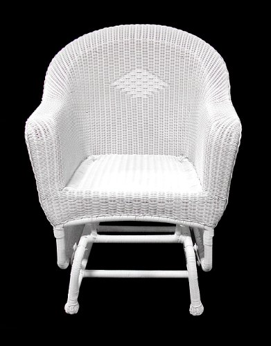 "36"" White Resin Wicker Single Glider Patio Chair"