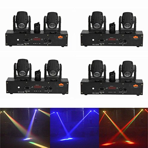 Yiscortm Stage Lighting Led Beam Light Rgbw 4In1 Cree 2 Moving Heads Dmx512 For Disco Dj Club Home Garden Wedding Party Effect (Pack Of 4)