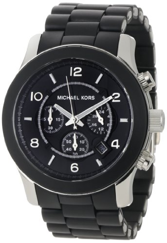 Michael Kors Mk8107 Unisex Watch with Black Pu Wrap Bracelet and Black Dial