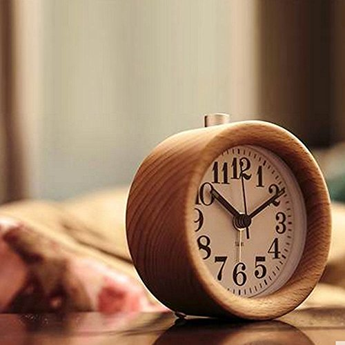 Amyove Table Snooze Beech Wood Alarm Clock Handmade Classic Silent with Night Light New