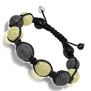 Black Onyx Ball Bead Bracelet with Black and Yellow Swarovski Crystals