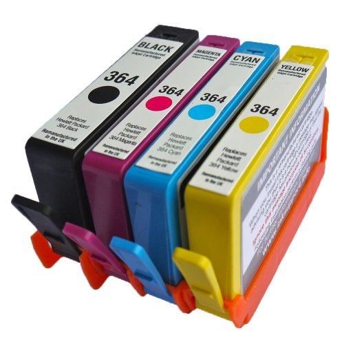 HP Combo Pack Kompatibel 364XL Druckerpatronen - 1 Schwarz (550 Seiten) 1 Cyan 1 Magenta 1 Gelb für HP Photosmart 5510, 5511, 5512, 5514, 5515, 5520, 5522, 5524, 6510, 6512, 6515, 6520, 7515, B010a, B109a, B109d, B109f, B109n, B110a, B110c, B110e, HP Photosmart Plus B209a, B209c, B210a, B210c, B210d, HP Deskjet 3070A, 3520, 3522, 3524, Officejet 4610, 4620 Hoher Kapazität