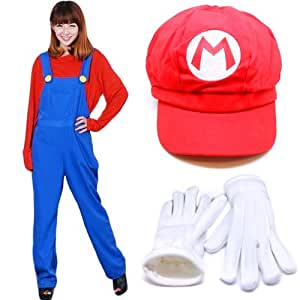 Gloves CaseEden original set of 4 CaseEden [Mario Mario Cosplay Costume luxurious 4-piece set] white 125 ~ 135cm size unisex red shirt and overalls and red hat & Children (japan import)