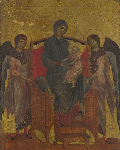 'Cimabue The Virgin And Child Enthroned With Two Angels ' Oil Painting, 10 X 13 Inch / 25 X 32 Cm ,printed On High Quality Polyster Canvas ,this Vivid Art Decorative Prints On Canvas Is Perfectly Suitalbe For Basement Decoration And Home Decoration And Gifts (Fireplace Glass Doors Gunmetal compare prices)