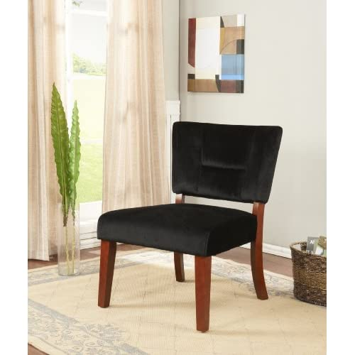 Kings Brand Black Velvet Fabric With Cherry Finish Wood Legs Accent Chair