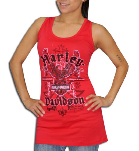 Harley-Davidson® Womens Eagle Twist-back Red Tank (Medium)