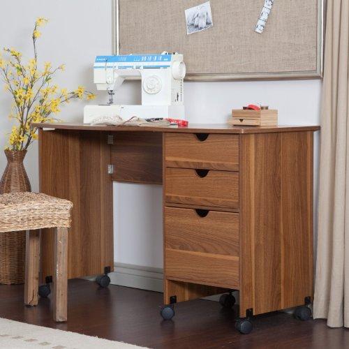 MOTHERS DAY SALE! Beldin Mobile Sewing Desk - Walnut Color - Walnut
