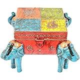 Rajgharana Handicrafts Multi Color Wooden Painted Designer Elephant Box - (25 Cm X 25 Cm X 16 Cm)