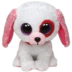 TY 36102 - Darlin - Hund mit Glitzeraugen, Valentinstag, limitiert, 15 cm, weiß mit rosa Ohren