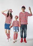 (BoaSorte)ウォーリーを探せウォーリー衣装コスチューム豪華4点セット(Tシャツ・眼鏡・帽子・レッグウォーマー)選べる4サイズペアルック親子ペアルックにも♪ハロウィンコスプレ衣装仮装コスチューム(S(S-M:140-160cm))