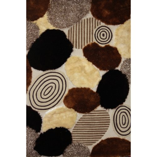 S.V.D. 22 Beige Brown stone pebble patterned exquisite color blend texture and yarn variety, Hand Tufted shag Area Rug are 100% polyester with Exact size 5 feet by 7 feet.
