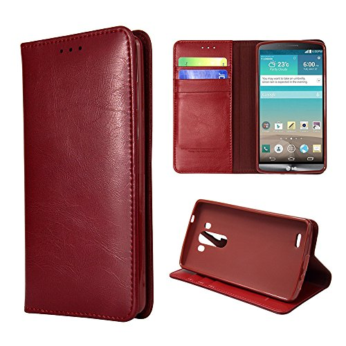 Ivapo Business Luxury Genuine Leather Wallet Design & Stand Function Soft Cover Case For Lg G3 (Mm453) (Red)