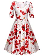 Meaneor Women's Half Sleeve Swing Dress Floral Print Knee Long A Line Tea Dress