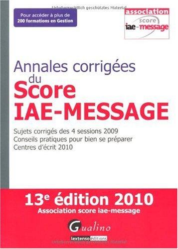 Annales corrigées du Score IAE