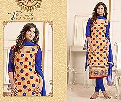 JJR Store Designer Beige Cotton Embroidered Dress material
