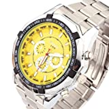 Yesurprise Fashion Men Women Military Army Stainless steel Band Quartz Wrist Watch Yellow