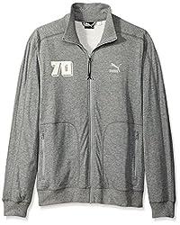 Puma Men's Brasil 70 Zip Up Mock Lightweight Sweatshirt-Heather Gray-Medium
