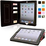 iPad 2 Case, Snugg™ - Executive Smart Cover With Card Slots & Lifetime Guarantee (Black Leather) for Apple iPad 2