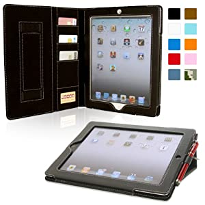 Snugg™ iPad 2 Case - Executive Smart Cover With Card Slots & Lifetime Guarantee (Black Leather) for Apple iPad 2