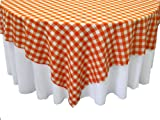 LA Linen Poly Checkered Square Tablecloth, 90 by 90-Inch, Orange/White