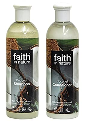 Faith In Nature Coconut Shampoo 400 ml + Faith In Nature Coconut Conditioner 400 ml (SUPER SAVER BUNDLE). Organic Shampoo & Organic Conditioner. Contains Vitamin E and Organic Coconut. Ethical Hair Shampoo & Hair Conditioner. Aromatherapy Essential Oils S