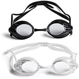 2 Pack: The Friendly Swede Swim Goggles for Adults with Interchangeable Nose Pieces and Protective Cases, Black and Clear
