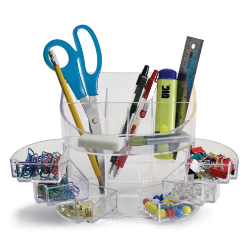OIC Desk Tidy Organiser with 9 Storage Compartments (Clear)