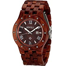 buy Wonbee Handmade Wood Watch 100% Natural Red Sandal Wooden Wristwatch With Date Create Gift For Men