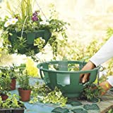 """2 x Easy fill hanging baskets 14"""" Green with free feed"""