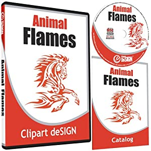 Animal Flames Clipart-Animal Vinyl Cutter Plotter Clip Art Graphics-Digital Sign Design Images-EPS Vector Art Software CD-ROM by Clipart deSIGN USA