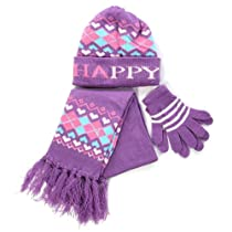 Kids Beanie Scarf Gloves Set purple