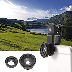 KARP Universal 3 in 1 Cell Phone Camera Lens Kit - Fish Eye Lens / 2 in 1 Macro Lens & Wide Angle Lens / Universal Clip with Microfiber Carrying Bag - Black Color