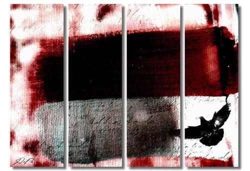 SENSATIONSPREIS! 4 teiliges Bild auf Leinwand - modern Art Design (Fly_big-4x30x100cm) Kunstdruck auf Rahmen mit Bilder Motiv (abstrakt moderne Malerei Striche Tier Vogel Schrift Farbverläufe grau braun rot) . Schnäppchen, ideal als Geschenk für Familie & Freunde. Schöner wohnen mit Foto als Bild - Picture at Home. 100% Made in Germany - Qualität aus Deutschland. Weitere schöne Foto Bilder im Bild Online Shop.