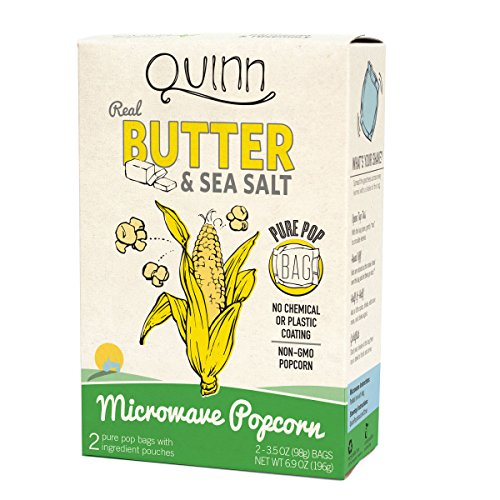 Quinn Popcorn Microwave Popcorn - Made with Organic Non-GMO Corn - Great Snack Food for Movie Night {Butter & Sea Salt, 1 Box} (Gourmet Popcorn Microwave compare prices)