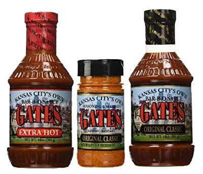Kansas City Gates Bar-B-Q Sauce Combo Pack - Original & Extra Hot Sauce Plus Original Seasoning Marinate