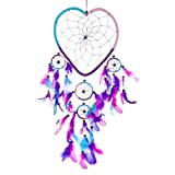 "Dream Catcher - Handmade Heart Shape Aqua, Pink & Purple 9"" Heart & 20"" Long!"