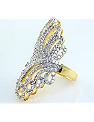 SUPERSHINE GOLD PLATED RING JEWELRY STUDDED WITH AMERICAN DIAMONDS
