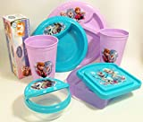 Bundle - 7 Items: Disney Frozen Mealtime Set - Plate, Bowl, Snack and Sandwich Containers, Snack Bags, Tumblers, and Basket